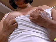 Unsatisfied Latina matures in bed and gently touch their moist clits with fingers 6