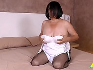 Unsatisfied Latina matures in bed and gently touch their moist clits with fingers 7