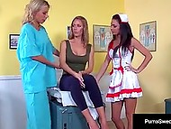 Black-haired nurse plays dirty with hot Swedish pornstar and her buxom girlfriend in ward 5