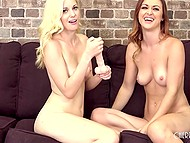 Two young chicks boast about hot bodies and then push dildos in wet pussies 6