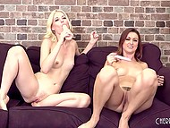 Two young chicks boast about hot bodies and then push dildos in wet pussies 7