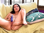 Pretty brunette kneaded boobies and oiled butt cheeks then excited twat with vibrator 7