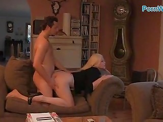 Finnish blonde and her husband take unusual pose to double pleasure from anal sex