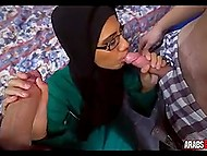 Arab girl is in strong need of money, so she takes two sponsors' weapons in mouth 8
