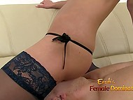 Small-boobied blonde in fashioned stockings sat down on face of bald partner 9