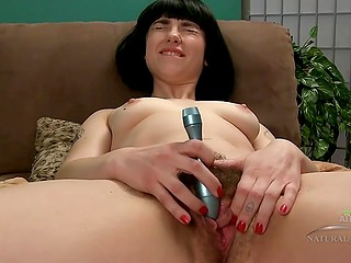 Hairy girlfriend with perfect tight body loves to screams when she puts vibrator on clit