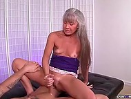 Mature woman with gray hair knows better than young girls how to give handjob 10