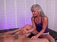 Mature woman with gray hair knows better than young girls how to give handjob 4