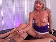 Mature woman with gray hair knows better than young girls how to give handjob 5