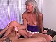 Mature woman with gray hair knows better than young girls how to give handjob 6