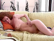 Attractive beauty slowly oiled skinny body and began to play with hairy pussy 7