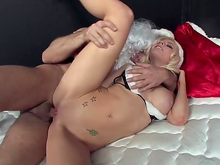 Annoyed Santa Claus nails big-boobied blonde to get rid of stress caused by work
