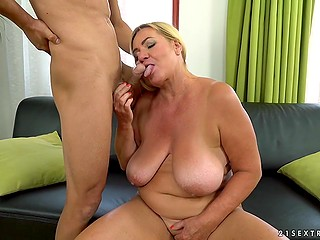 Experienced blonde is always eager to have hot sex with her young inamorato