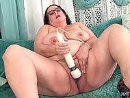 Curly-haired BBW brunette is eager to play with her sweet pussy with some sex toys