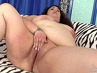 BBW opens bald pussy for partner's throbbing prick to penetrate it on sofa 6