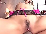 Ardent sex of slender Japanese babe in lace lingerie and her boyfriend ends with hot creampie