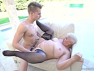 Busty granny in nice stockings shares sexual experience with her young inamorato