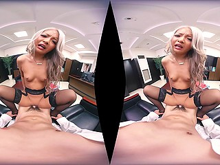 Hot Asian blonde in stockings rides dick in office room and squirts everytime she cums