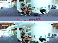 Bald guy show his luxury house to sexy babe and fucks her like a real man in VR XXX video 8
