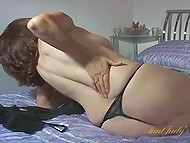 Excited mature is completely alone in bedroom and ready for some solo fun with toy 5