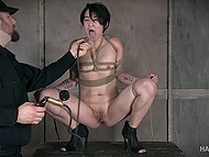 Asian bitch gets tied by crazy bastard who pumps her clit and makes her drink pussy juice