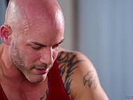 Countless tattoos on bald strongman's body attracted Latina and she couldn't resist him fucking her 5