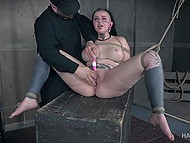 Harsh man ties plump girl with horns and makes her peach dripping with help of a vibrator 11