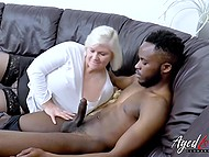 Granny is still in loop and young black stallions with great penises are very attractive for her