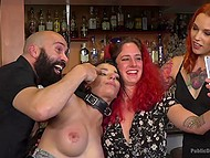Red-haired lady led her sexy slave to party where she was pulled by bearded man 4