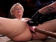 Man controls mechnick dildo and moves it in slender MILF's pussy and she is delighted with this 9