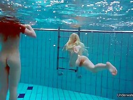 Young teens have great time in pool and show off their wonderful holes underwater 11