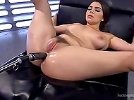 Chesty Italian pornstar Valentina Nappi tests the latest developments of sex toys factory