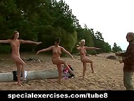Physical training instructor forces Russian women to do nude workout on sandy beach 11