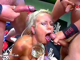 Masked homies filled glass of blonde-haired German bitch not with wine but with fresh cum