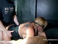 Session in BDSM style of mature female from Denmark getting vagina fisted and impaled with strapon 4