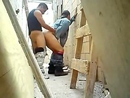 Homosexual builders make a little anal break hiding among planking at workplace