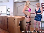 Stacked lesbian was waiting for this huge package because seductive Norwegian Vicky Vette was hiding inside 4