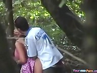 Hiding behind a tree, cameraman manages to record sexual act of teen couple in backwoods 5