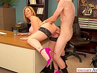 Mature woman lures her colleague with big tits and spreads legs for hard penetration 11