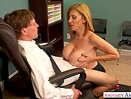 Mature woman lures her colleague with big tits and spreads legs for hard penetration 5