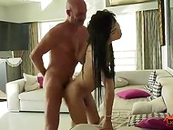 Asian ladyboy's penis it's not a big deal for bald-headed male during anal fucking