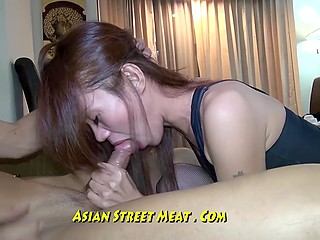 Long-legged prostitute from Philippines swallows white client's dick as like this is the last time
