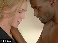 Perverted guy really wants his big-tittied girlfriend to have sex with dark-skinned man 5