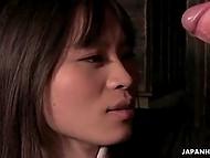 Dude brings innocent Japanese babe to dark corner, where teases her virgin holes 11