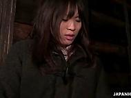 Dude brings innocent Japanese babe to dark corner, where teases her virgin holes 9