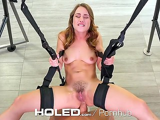 Fucker hangs petite Dutch girl up on sex swing and checks her tight butthole out