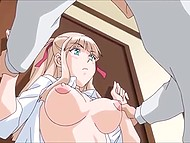 Guy with glasses loses no chance to fuck wet pussy of busty stepsister in Japanese cartoon for adults