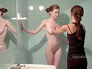 Masseuse helps red-haired babe to take shower and starts teasing her smooth-shaven cunny 4