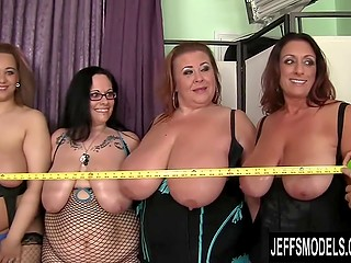 Group of lustful BBWs got their boobers measured before taking part in extreme orgy