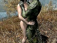 Lizard of human growth puts huge phallus in brunette girl's pussy in fantasy cartoon 9